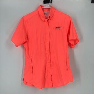 Columbia PFG coral pink button shirts small